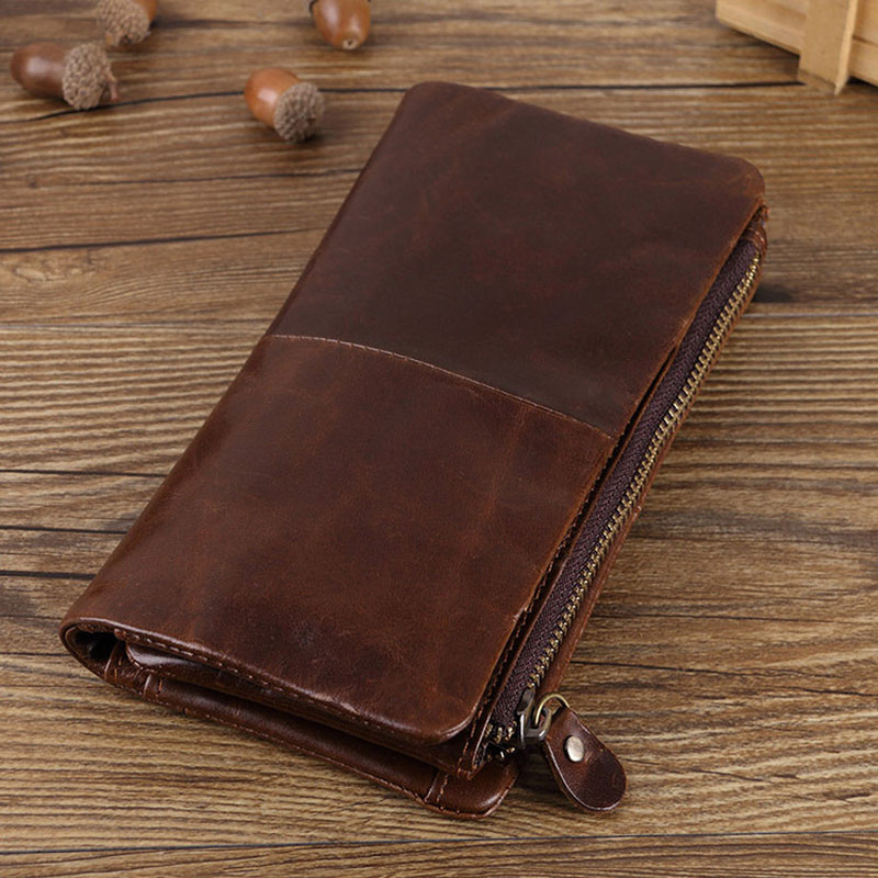Men Wallet Men's Zipper Purse Clutch Long Wallets Male Genuine Leather Card Holder Purses high quality Vintage Male Wallets Coin купить недорого в Москве