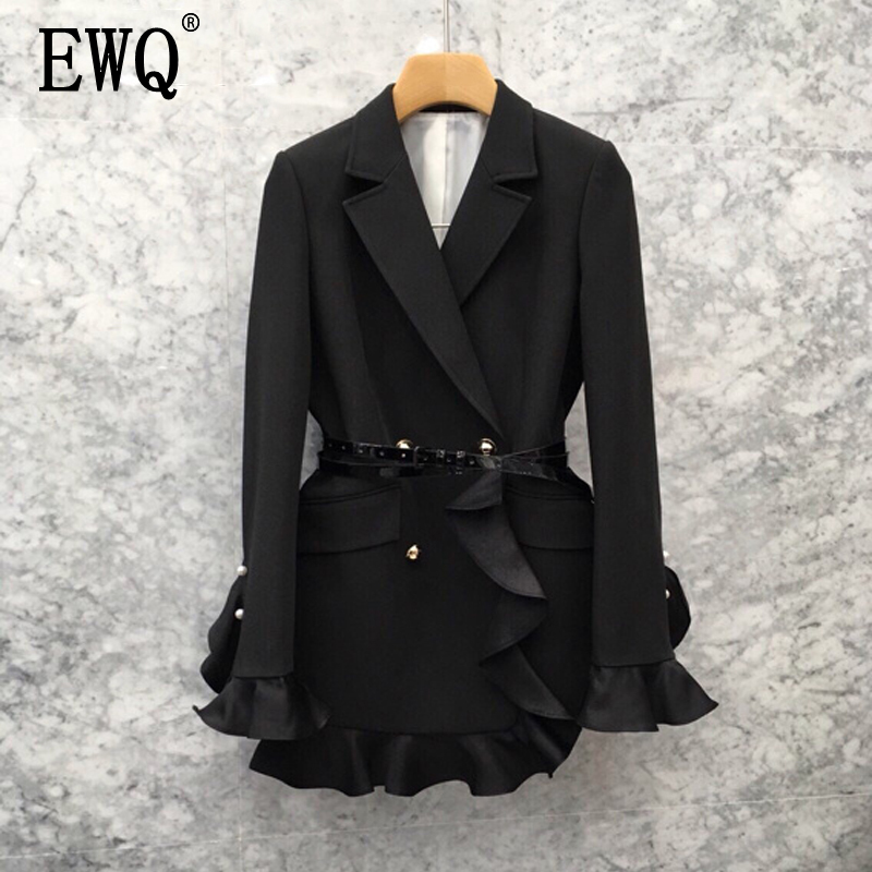 EWQ 2020 Autumn New Pattern V-collar Long Sleeve Double Breasted Ruffles Patchwork Plus Size Woman Suit Blazer AG244