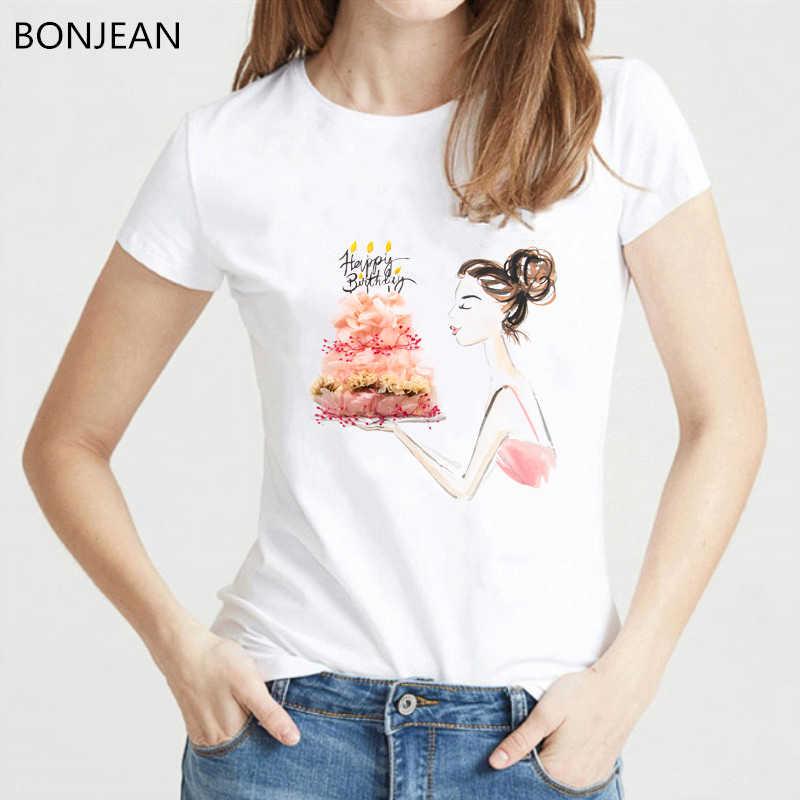 Vogue t shirt kobiety kartka urodzinowa t-shirt z nadrukiem femme akwarela kwiaty prezentuje t-shirt kobiet harajuku tumblr top tee