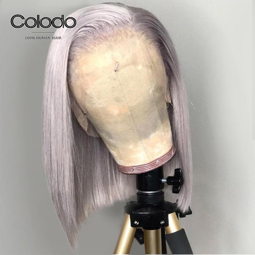 COLODO Human-Hair-Wigs Bob Wigs Lace-Front Straight Women Brazilian Short Plucked