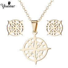 Yiustar Colorful Bohemian Hollow Hollow Compass Jewelry Set Chain Silver Gold Choker For Women Exquisite Charming Jewelry Gifts(China)
