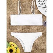 Free Shipping Women Bikini Bandeau Ribbed Brazilian Two-Piece