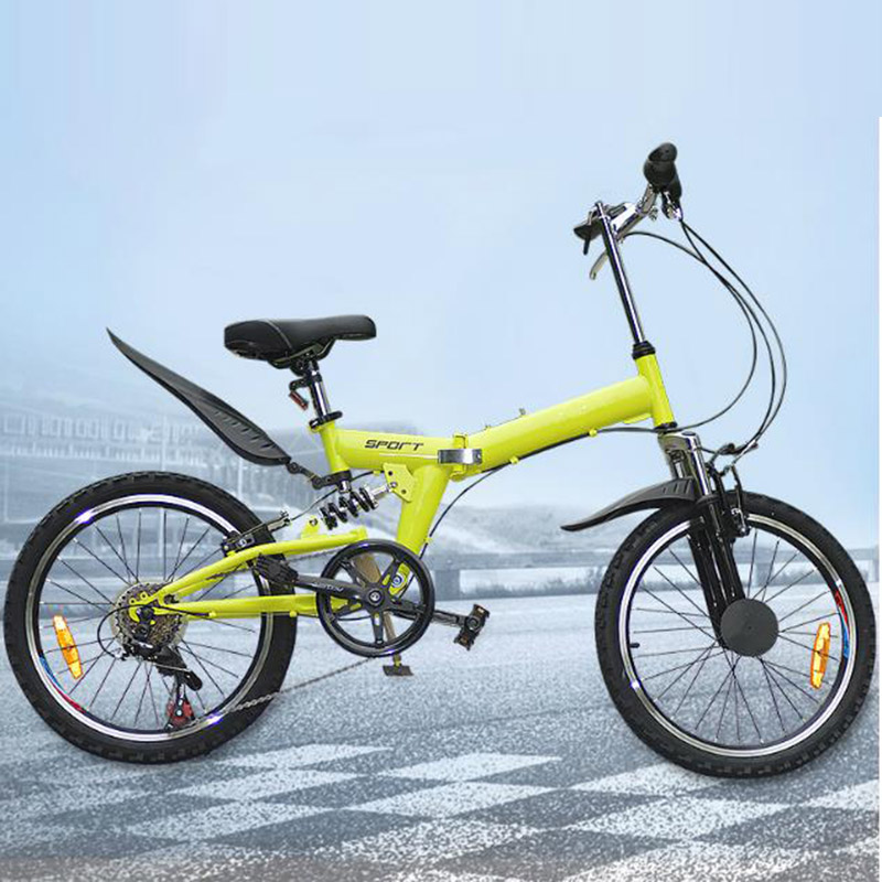 Mountain Bike 20 Inches Folding Bicycle Bilateral Folding Pedal Double V Brake Damping Cycling Entertainment