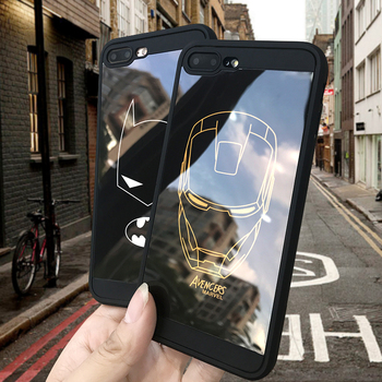 Marvel case for iphone X XS MAX XR 10 8 7 6 6S plus Simple Strokes Iron Man Batman Soft silicone phone cover durable coque capa