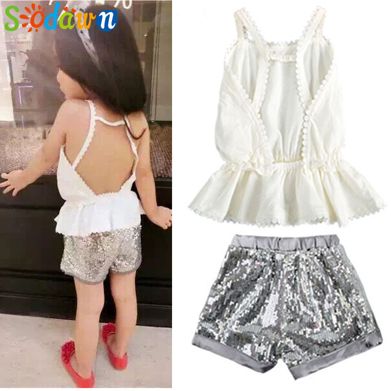 Sodawn Grils Clothes   New Fashion Summer Style Girls Clothing Sets Condole Top+Sequins Shorts Shiny Suit Kids Clothing Sets