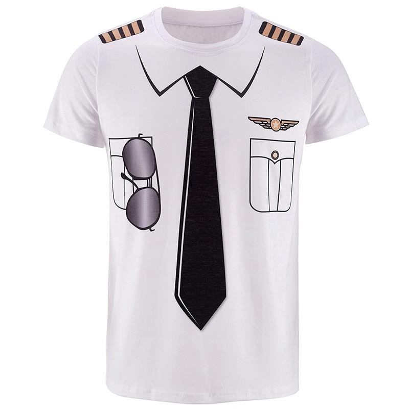 f85917a247b Dropwow Men s Captain Costume T-Shirts Funny Cosplay Halloween Tee ...