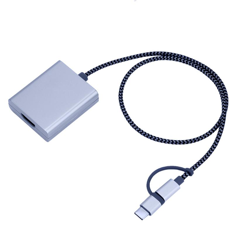 Silver Color USB3.1 Type C+Micro USB+<font><b>8</b></font> pin Lighting to 1080P HDMI Cable Converter Adapter for IPhone Ipad