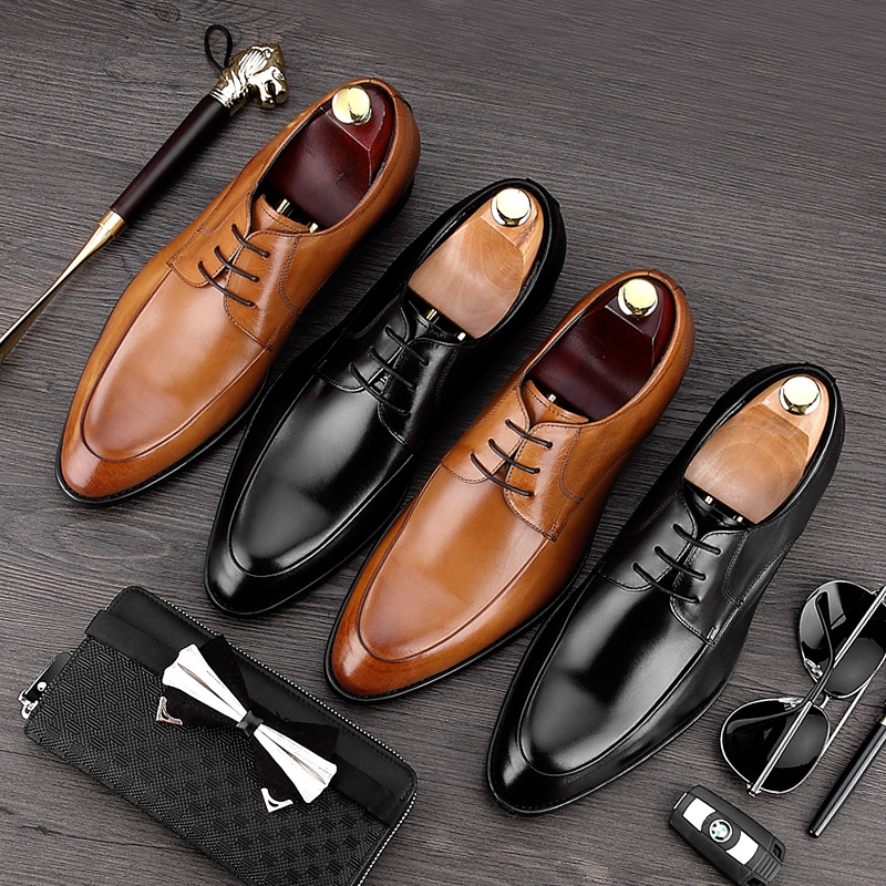 New Formal Derby Man Dress Party Shoes Round Toe Genuine Leather Oxfords Luxury Brand Men's Bridal Wedding Flats For Male MG58 new arrival british man wedding dress shoes fashion genuine leather male oxfords round toe formal luxury brand men s flats rf40