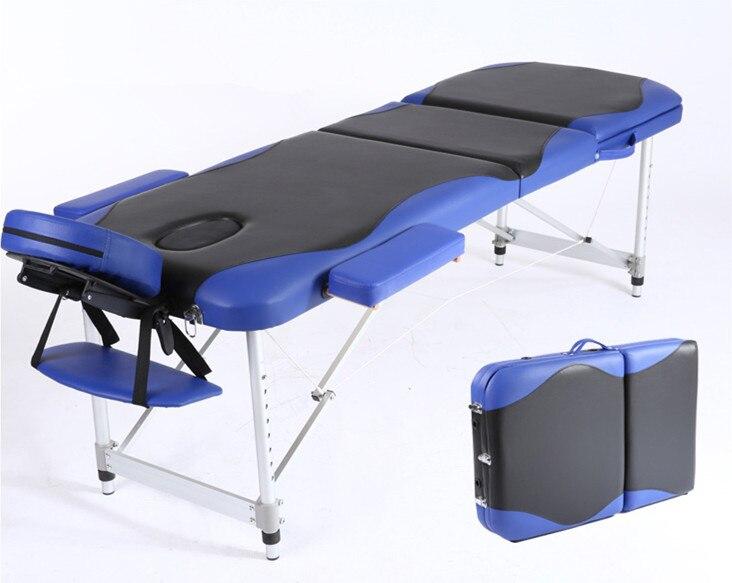 3 Fold Professionale Portatile Lettino da Massaggio Pieghevole con Sacchetto Carring Salone del Mobile Letto Pieghevole di Bellezza Spa Massage Table Bed