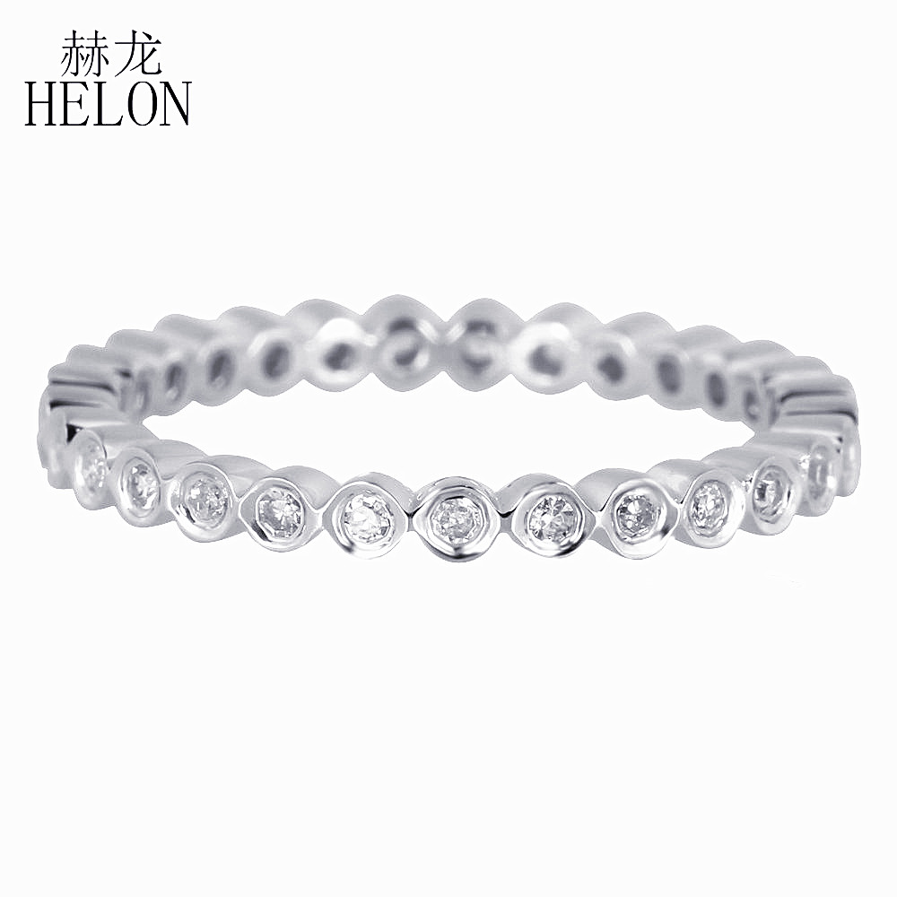 HELON Solid 14K White Gold Certified Round Pave 0.2CT Natural Diamonds Ring  Engagement Wedding Women Exquisite Fine JewelryHELON Solid 14K White Gold Certified Round Pave 0.2CT Natural Diamonds Ring  Engagement Wedding Women Exquisite Fine Jewelry