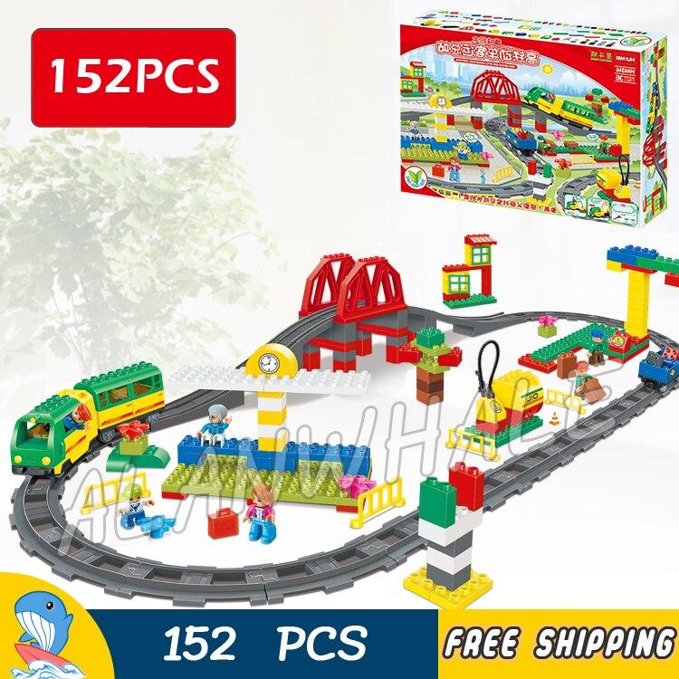 152 pièces ma première Ville Train de luxe voies ferrées à grande vitesse pont Figure blocs de construction jouets compatibles avec LegoING Duplo