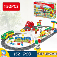 152pcs My First Ville Deluxe Train High speed Rail Tracks Bridge Figure Building Blocks Toys Compatible With LegoING Duplo