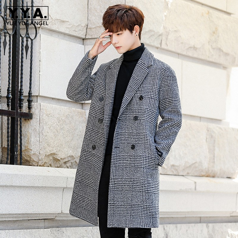 Winter Long Jacket Men Fashion Korean Loose Fit Double Breasted Trench Coat Teenager Turn-down Collar Pocket Warm Overcoat Male