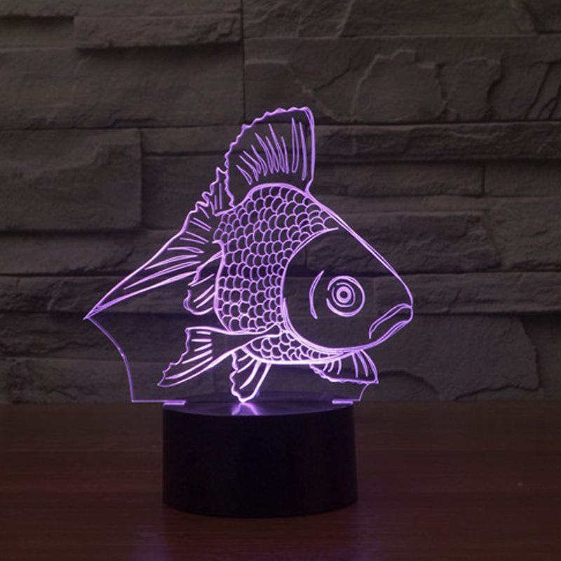 7color changing Goldfish 3d Night Light Colorful USB Touch Led Visual Light Gift Atmosphere Decorative Table Lam IY 803532