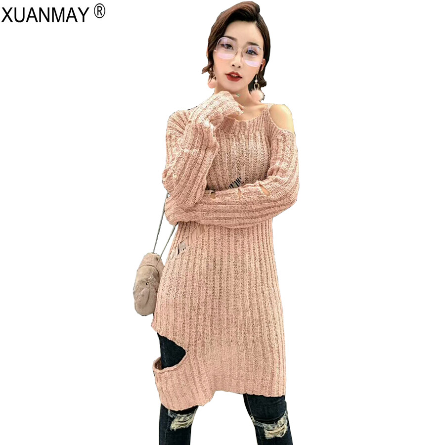 Fashion Sweater Dresses For Women Autumn Winter Thicken Long Sleeve High Neck Primer Dress Soft Cable Knit Dress Cheap Knitwear 50% OFF Pullovers