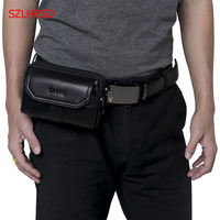 SZLHRSD New Men S Genuine Leather Waist Pack Cell Phone Case For AGM A1Q A7 A8