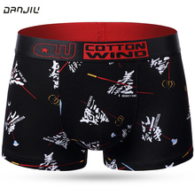 DANJIU New Men Underwear Man Cartoon Cotton Boxer Shorts Chinese Style Fashion Cool Male Underpants Sexy Breathable Calzoncillos