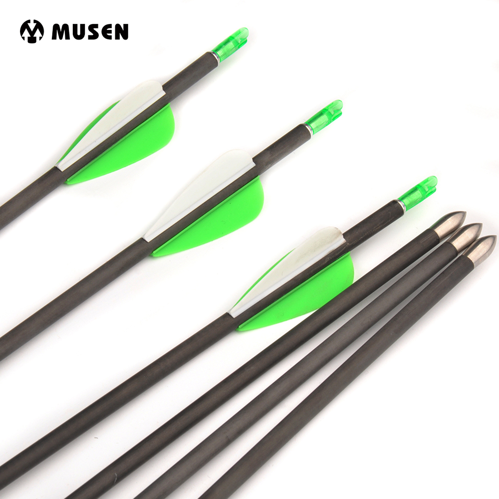 "6/12/24 pcs 30"" Spine 700 Pure Carbon Arrows OD5.6MM/ID4.2MM with Plastic Feather and Adjustable Nocks for Recurve Compound Bow"