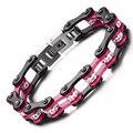 Hot Sale 10mm Wide Motorcycle Chain Bracelet Men's Cool Black Rose Biker Cycle Link Bracelet  Rhinestone Crystal Steel Jewelry