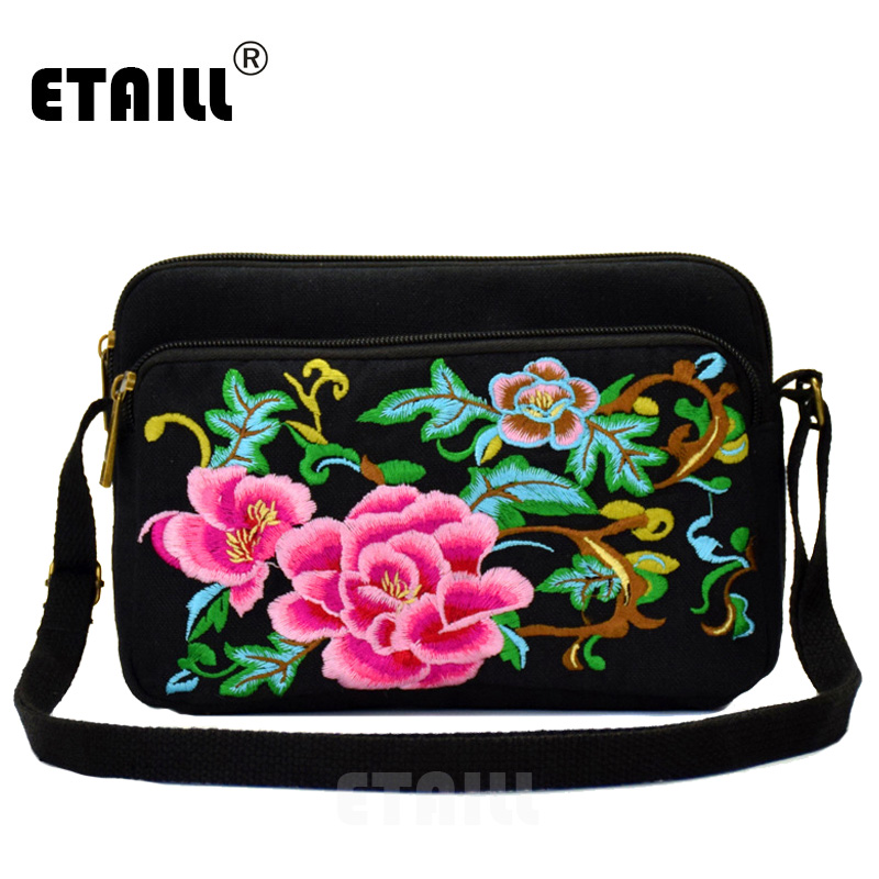 ETAILL 3 Zippers Pink Flower Embroidery Bags 2018 Boho Hobo Chinese Style Small Embroidered Shoulder Bag Women Sac a Dos Femme