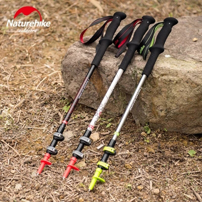 2pc Naturehike Ultralight adjustable Trekking Poles with Cork Grip Hiking Walking Sticks come with Tungsten Tips and Flip Locks