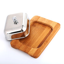 Realand Eco friendly Stainless Steel Butter Dish Box Container Cheese Server Storage Keeper Bamboo Tray with mirror finish Lid(China)