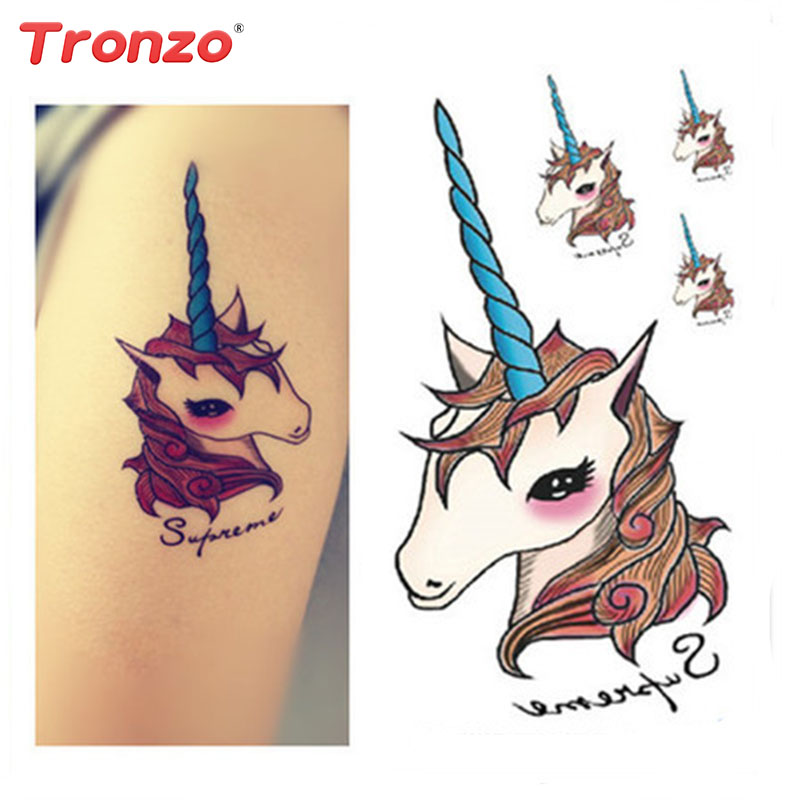 tronzo 10pcs unicorn disposable tattoo stickers wedding decoration diy tattoo party supplies kids gift 10 5