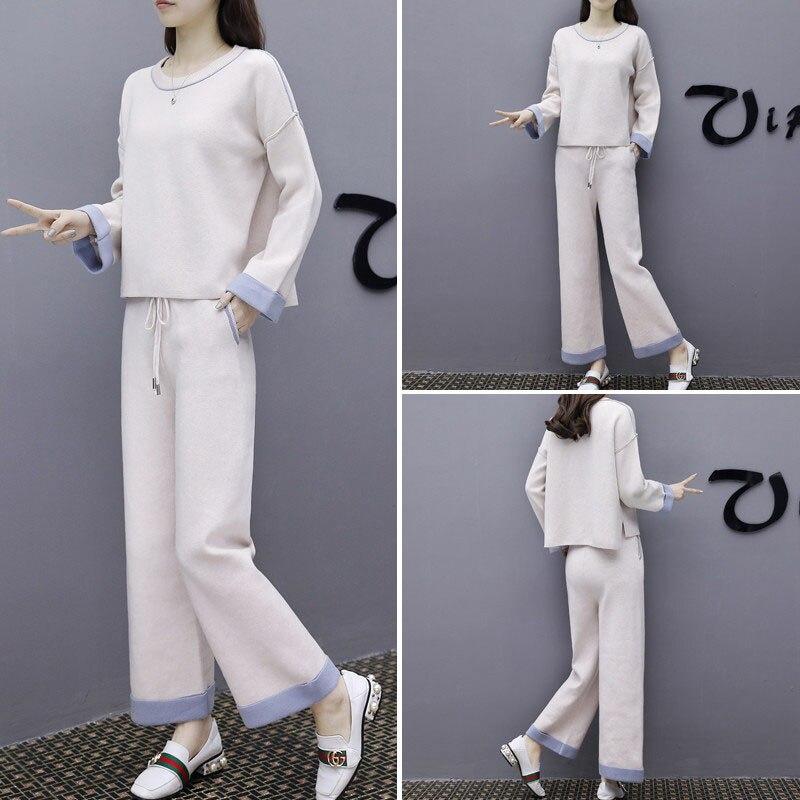 Large Creamy Collège De Printemps A317 Manches Haut Gamme white Longues Off Femmes Ensemble Coréen Ensembles Deux Pantalon Vent Lâche Occasionnel Jambe Blanc Tops OO8pqxf