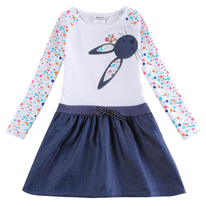 Novatx girls dress spring autumn rabbit embroidery kids clothes princess dresses for girls costumes baby girl clothes vestidos spring autumn girl style dress princess girls dresses high quality cotton kids party costumes solid thicker vestidos zipper bow
