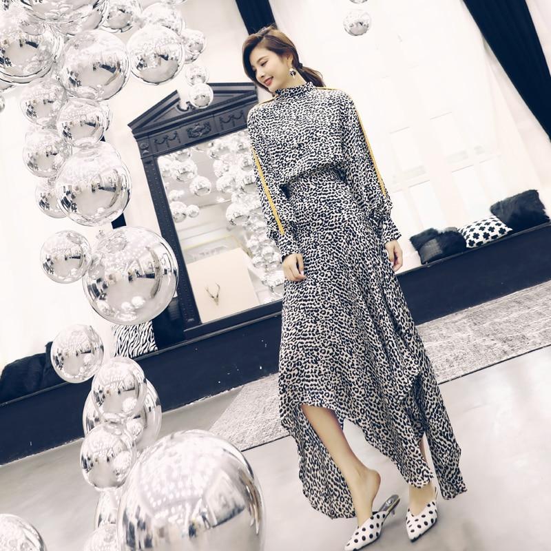 Women's Set 2019 Spring Autumn Casual Clothes Suit Ladies Turtleneck Leopard Print Long Sleeve Tops Blouse+Long Maxi Skirt Suits