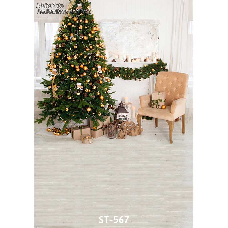 Christmas background vinyl photography backdrops Computer Printed christmas fire place tree and Gift box for Photo studio ST-567 white 3d decorations xmas tree hall fireplace room backdrops vinyl cloth computer printed christmas photo studio background