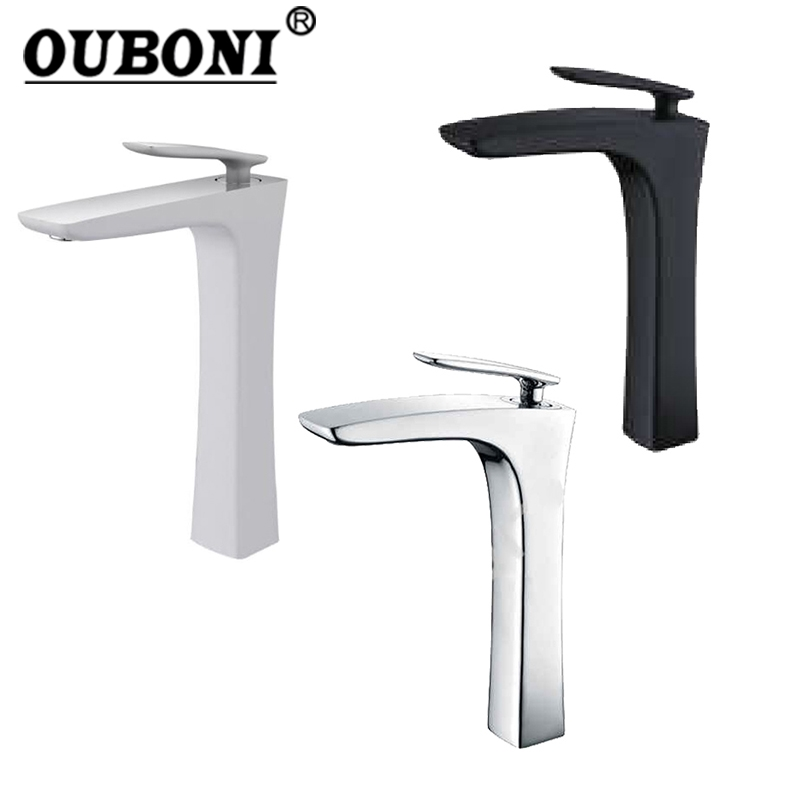 Chrome / ORB / White Painting Bathroom Faucet Brass Finish Deck Mounted Tap Basin Sink Faucet Mixer Taps Black Tall Mixer free shipping square wall mounted water tap bathroom sink faucet in chrome finish bf124