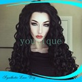 African black curly hair wig Small wave volume Long curly black hair European and American fashion lace front wig synthetic wigs