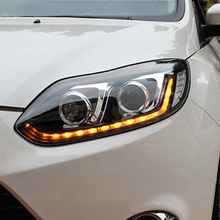 headlights For ford focus 2012 2014 Q5 bi xenon lens+LED light guide DRL+H7 HID Kit car styling LED headlamps For focus цена в Москве и Питере