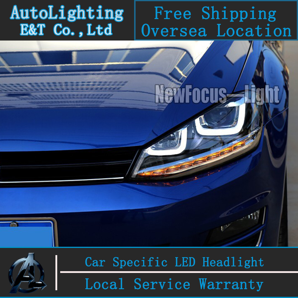 Car styling LED Head Lamp for VW Golf 7 GTI R20 led headlight assembly golf7 angel eye led drl H7 with hid kit 2 pcs. new arrival canbus p6 car led head lamp conversion kit bulb 4500lm 2 9000lm led headlight super bright 45w 2 90w car styling