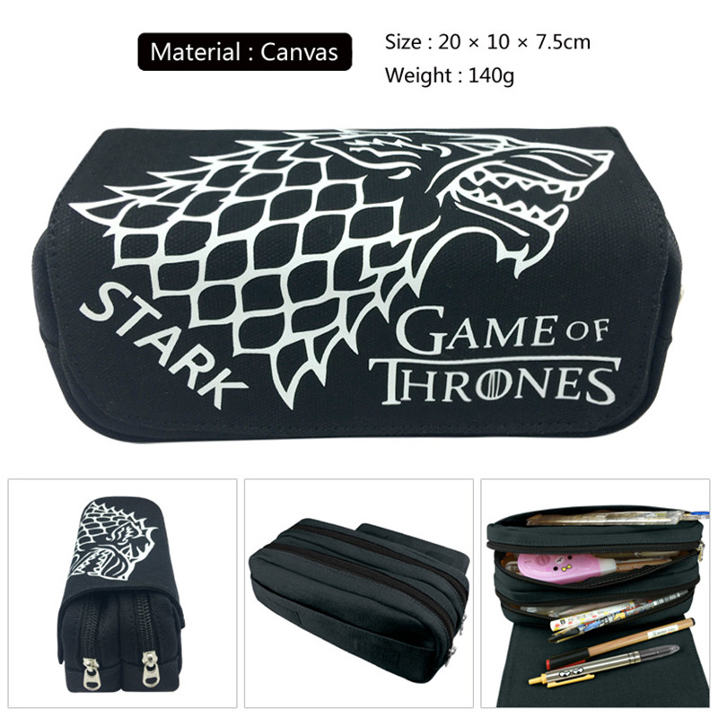 1pc/lot Game of Thrones Pen bags PencilBags Double Zippers Black Pencil Bag Stationery Container Gifts School Supplies 20cm