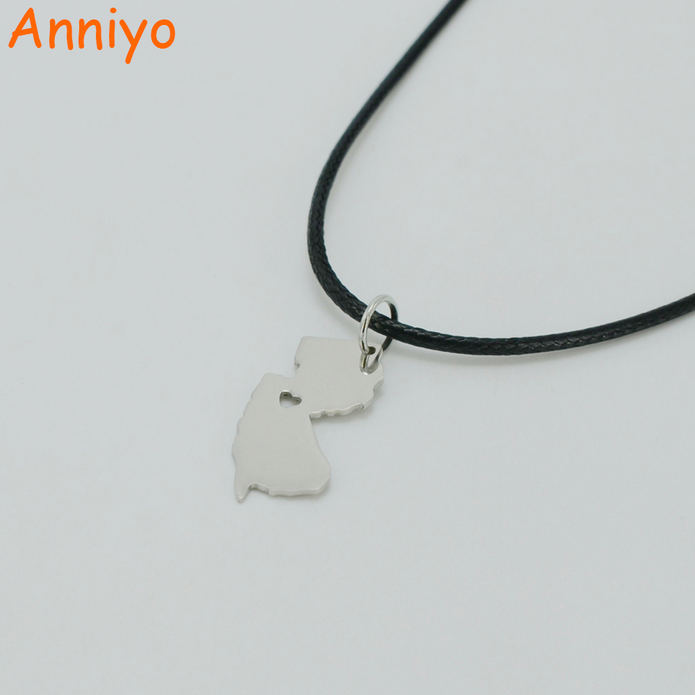 Anniyo New Jersey Map Necklaces United States Maps Stainless Steel Pendant Rope for Women/Men,State of New Jersey #000908
