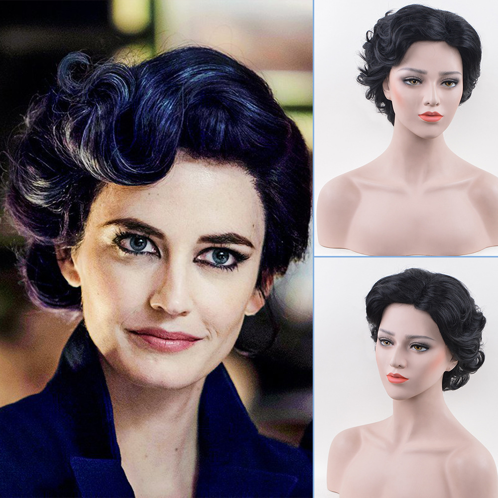 Eva Green Wig Miss Peregrine's Costume Adult Ladies 1920s Vintage Short Curly Hair Womens Halloween Fancy Costume Accessories