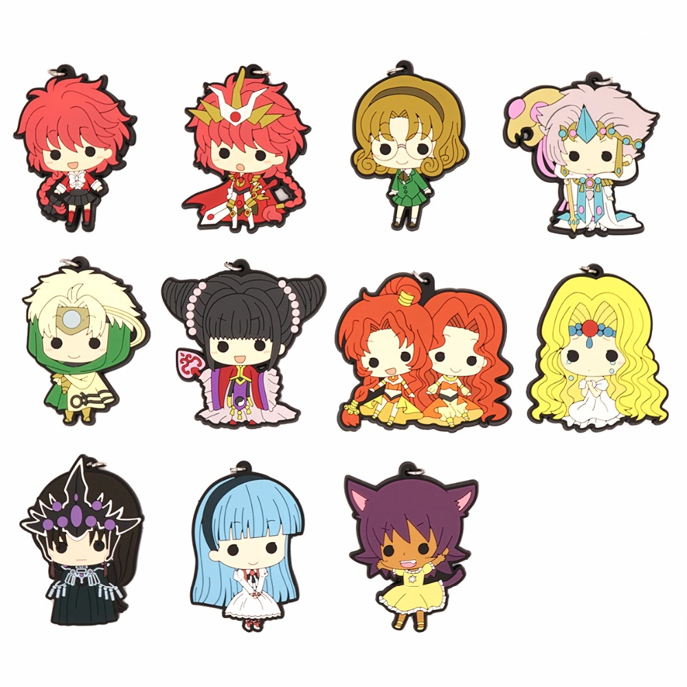 Magic Knight Rayearth Anime Shidou Hikaru Hououji Fuu Ryuuzaki Umi Rubber Keychain servamp anime vampire mahiru kuro snow lily jeje hyde food version japanese rubber keychain