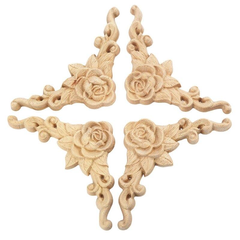 4pcs 8*8cm Wood Carved Corner Onlay Applique Door Cabinet Rose Unpainted European Style