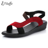 Fitaffe Summer Woman Soft Leather Sandals Fashion Comfortable Low Wedges Mother Sandals Casual Gladiator Women Footwears