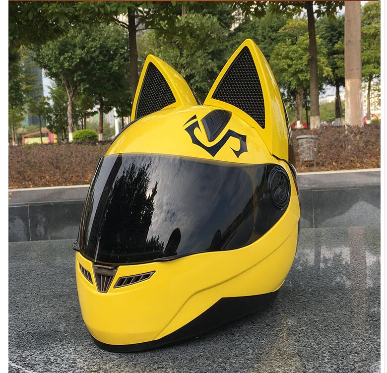 Cat ears motorcycle helmet men's personality cool full face helmet locomotive anti fog ladies cat ears pink helmet|Helmets| |  - title=