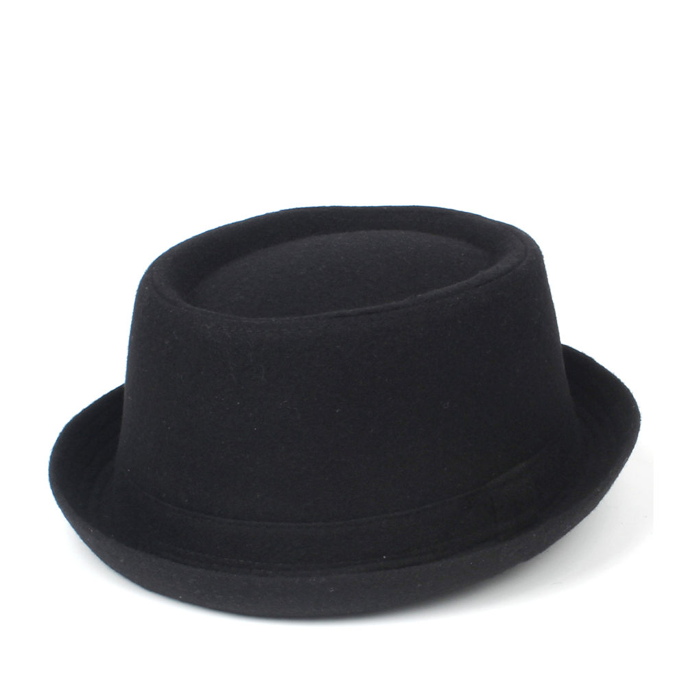 100% Wool Men Pork Pie Hat For Dad Winter Black Fedora Hat For Gentleman Flat Bowler Porkpie Top Hat Size S M L XL 2