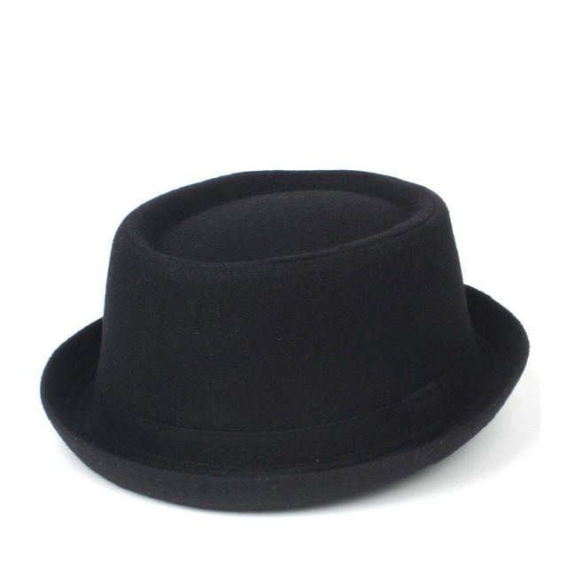 100% Wool Men Pork Pie Hat For Dad Winter Black Fedora Hat For Gentleman Flat Bowler Porkpie Top Hat Size S M L XL 2