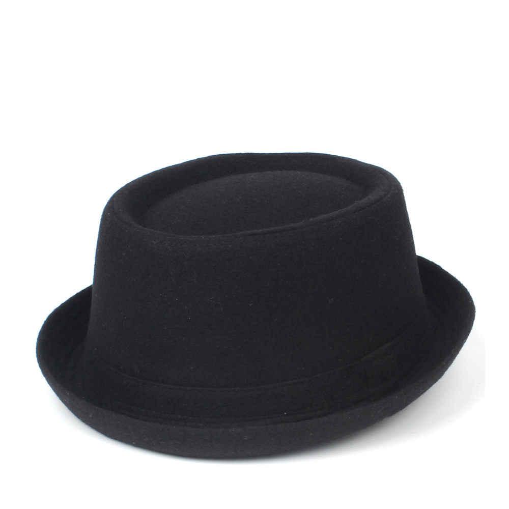 f997a4e6a 100% Wool Men Pork Pie Hat For Dad Winter Black Fedora Hat For Gentleman  Flat Bowler Porkpie Top Hat Size S M L XL