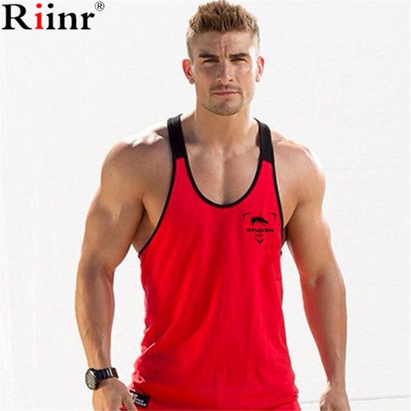 Riinr 2018 Fashion Golds Gyms   Tank     Top   Men Singlet Canotte Bodybuilding Stringer Brand Men's Fitness Muscle Guys Sleeveless Vest