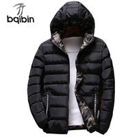 New Men Jacket Hooded Parkas Coats Both Side Wear Fashion Winter Warm Thick Padded Jacket Mens