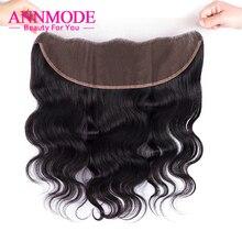 Annmode перуанский объемная волна шт Кружева Фронтальная застежка 13*4 Бесплатная Часть Бесплатная доставка 100%-remy человеческих волос может соответствовать 3 Связки (bundle)