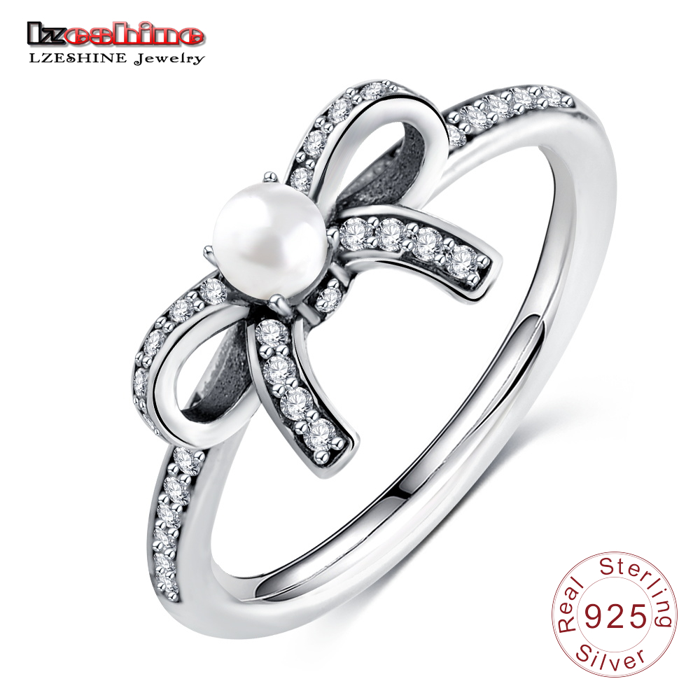Lzeshine Delicate Sentime Pearl Rings 925 Sterling Silver Clear Cz Bowknot  Finger Rings For Ladies Party