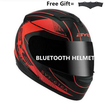 Unisex-Adult's Full-Face Style  Bluetooth Integrated Motorcycle Helmet with Graphic (Matte Black Red, MEDIUM)